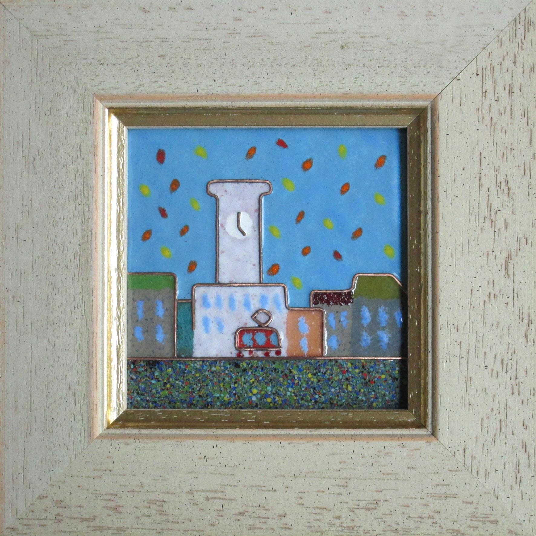 Олекса Мисько. Трамвайчик, 2013. Мідь, емаль, 8х8