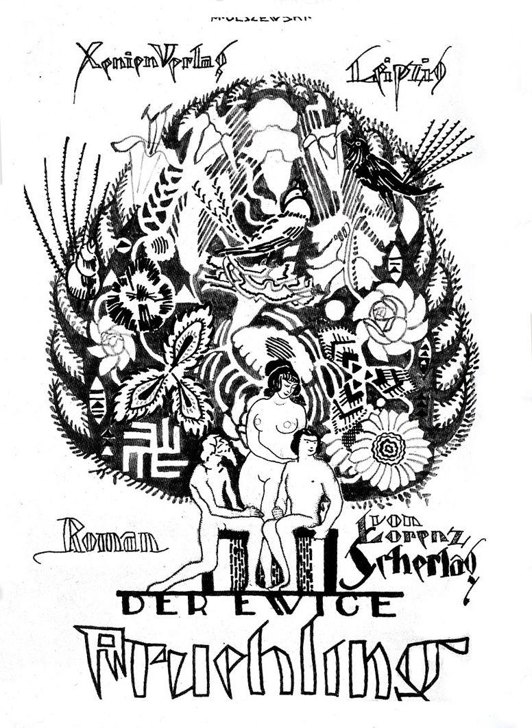 Мар'ян Ольшевський. Обкладинка книги «Вічна весна», 1913 ескіз;туш; ЛНГМ