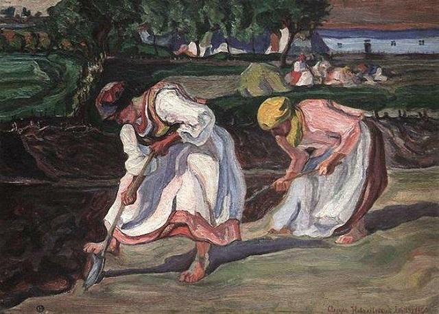 Олекса Новаківський. Копання городу, 1920