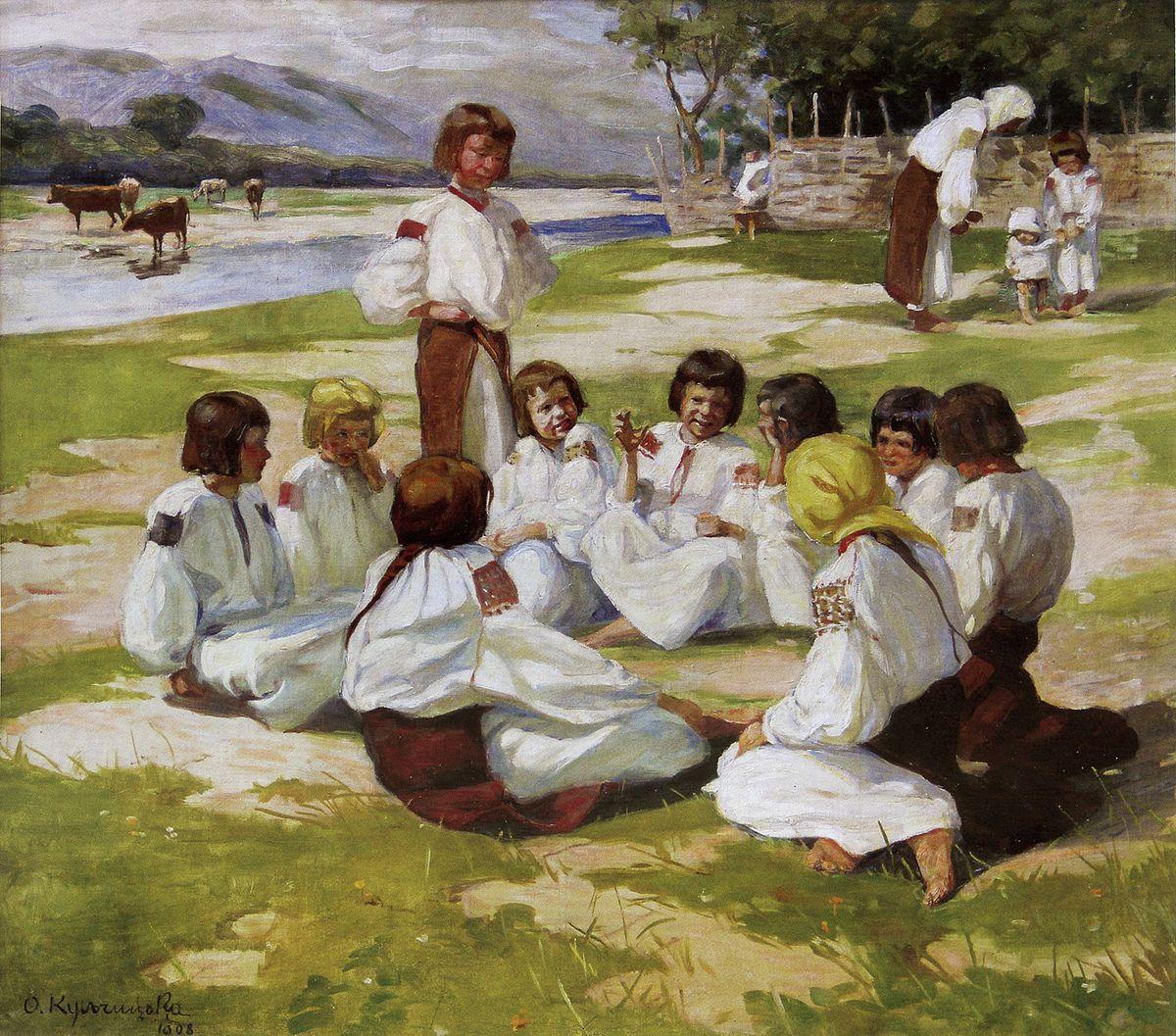 Олена Кульчицька. Діти на леваді, Косів, 1908