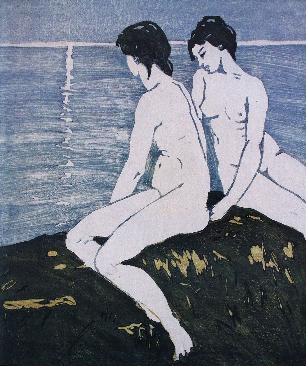 Олена Кульчицька. На березі моря, 1912, лінорит