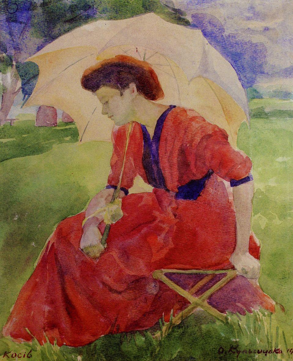 Олена Кульчицька. Сестра Ольга з парасолькою, 1909, акварель