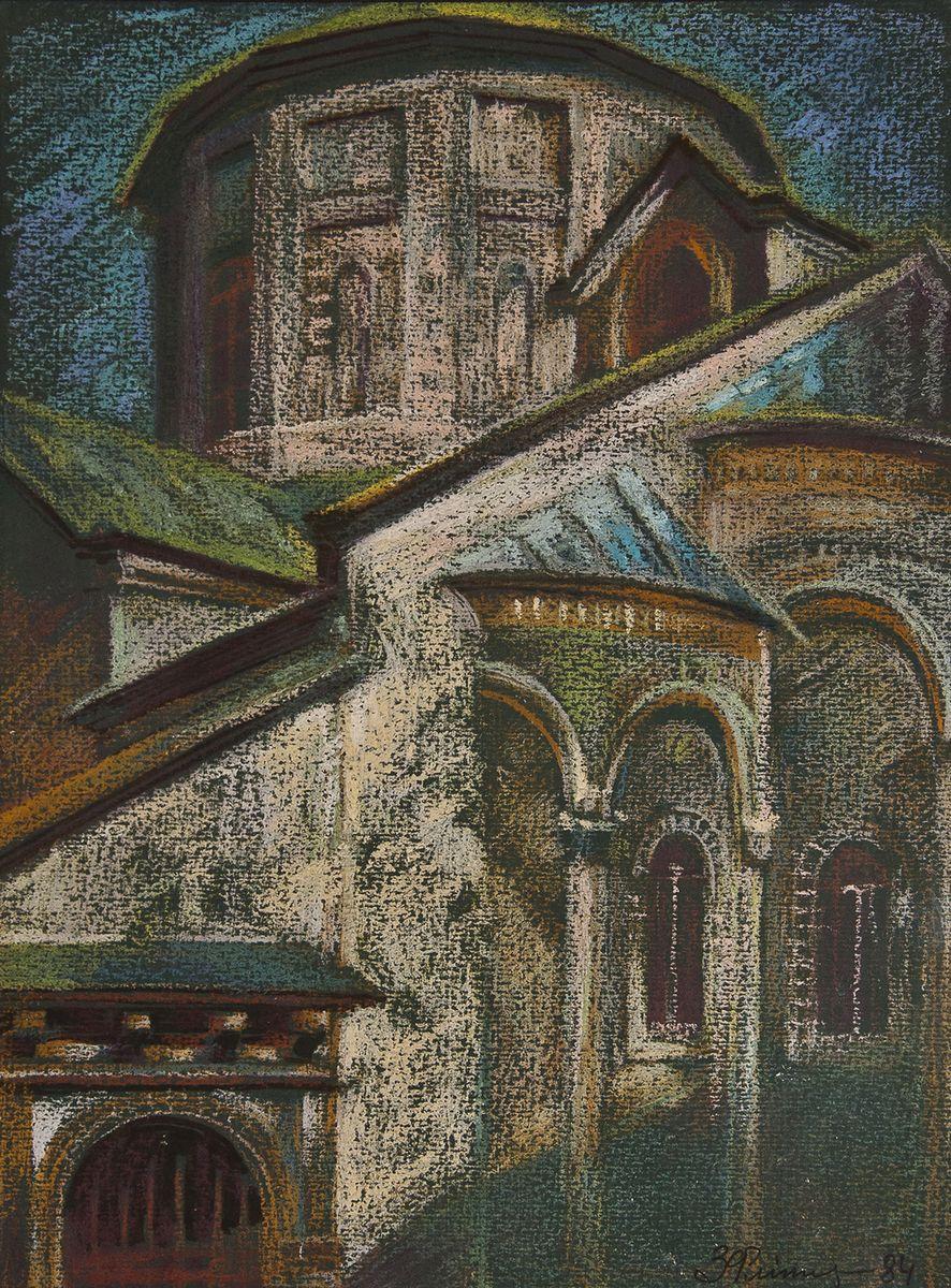 Зеновій Флінта. Вірменський собор, 1984. Картон, пастель
