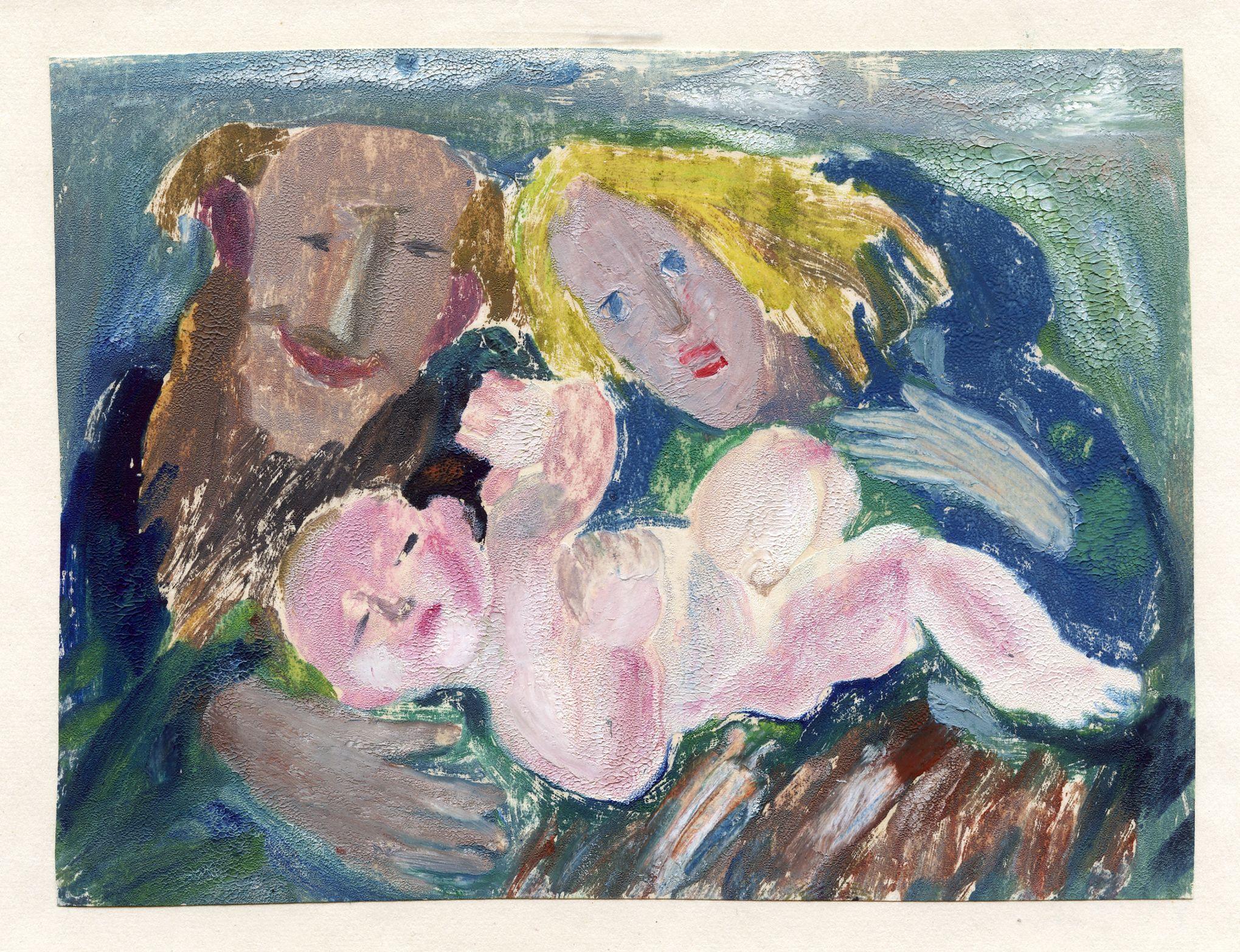 Роман Петрук. Різдво, 1981; 12х16 см, монотипія