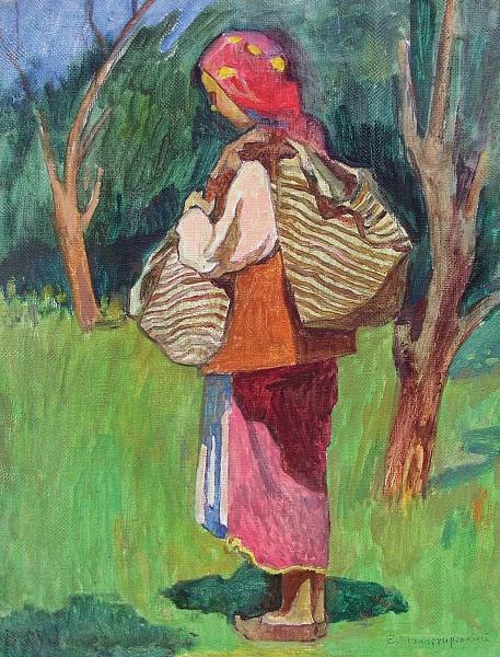 Вітольд Манастирський. Гуцулочка с бесагами, 1948