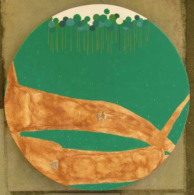Ярина Мовчан. Серед дерев раю, 2010. Дошка, левкас,  жовткова темпера d-40.