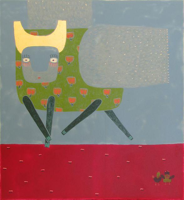 Ярина Мовчан. Звір з крилами 2010. Дошка, левкас, золото, жовткова темпера 34,5х31,5.