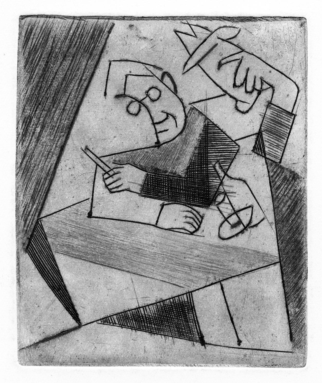 Леопольд Левицький. Інтелектуалісти (Автопортрет), 1930-і; офорт