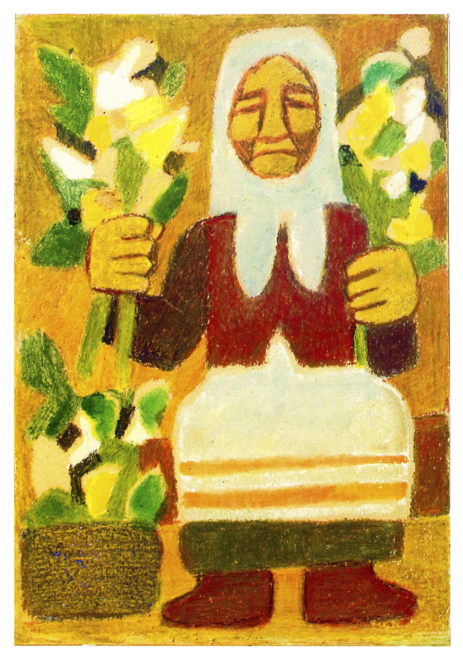 Леопольд Левицький. Квітникарка, 1950-і; монотипія