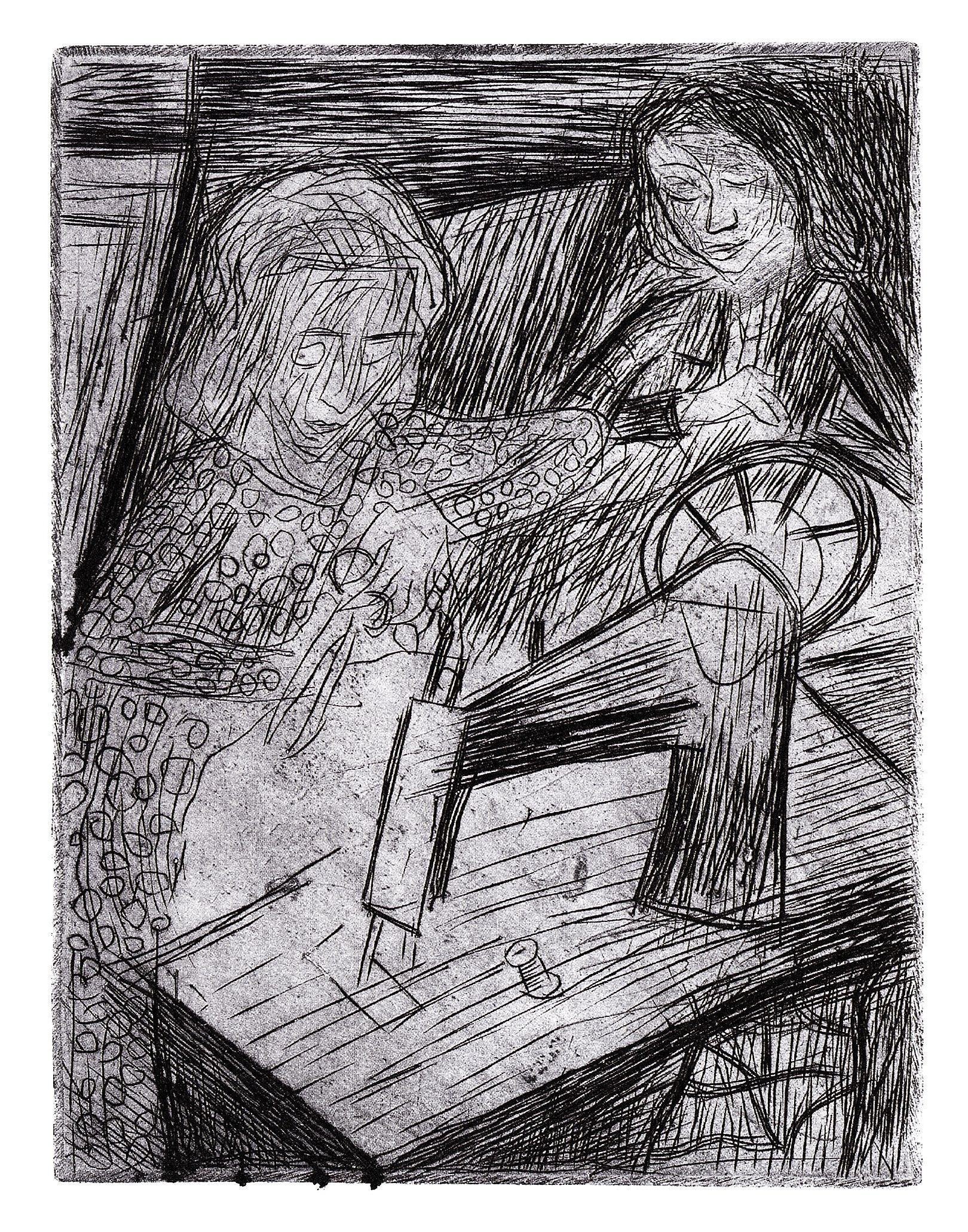 Леопольд Левицький. Швачки, 1932; офорт