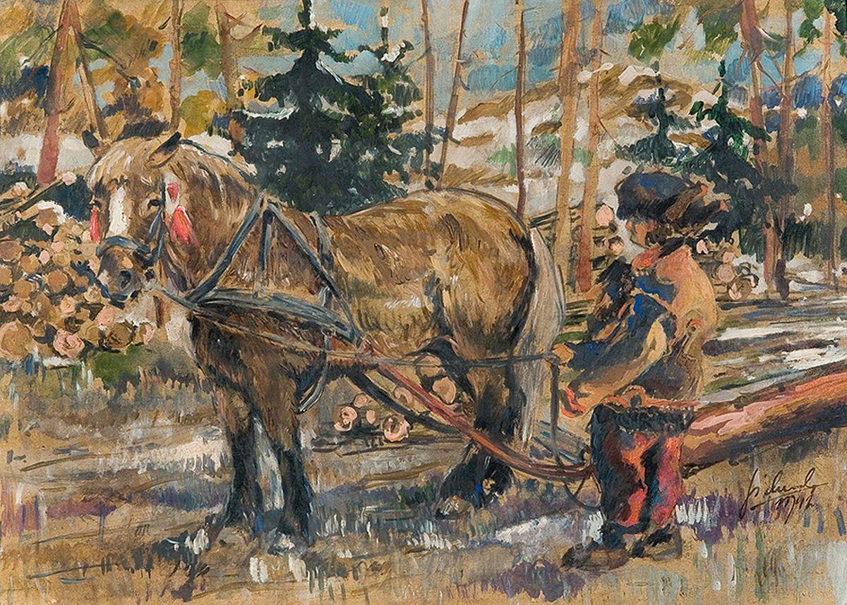 Казимир Сіхульський. Гуцул з возом, 1942
