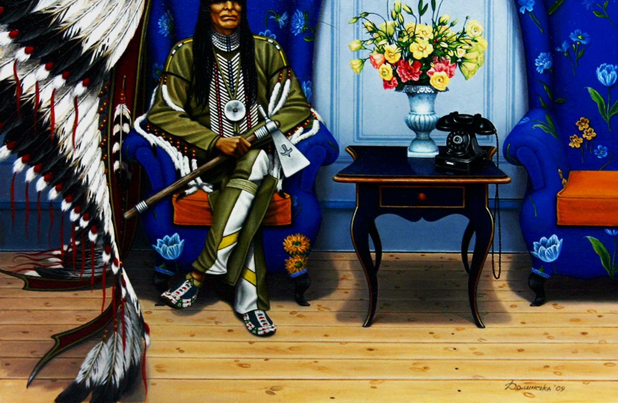 Юлія Долинська. Ніколи не знаєш що у сусідній кімнаті, 2009; диптих ч.1, 20х30
