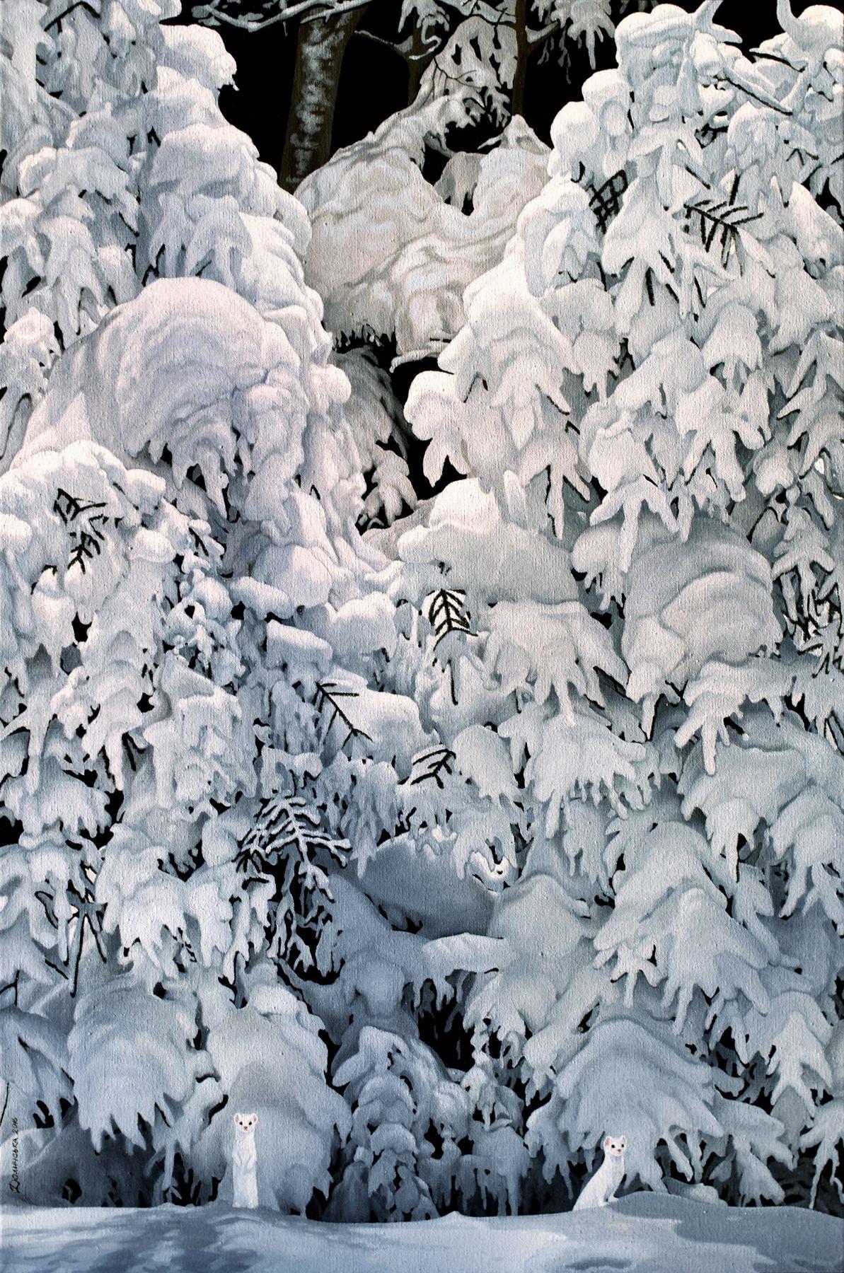 Юлія Долинська. Синій синій синій тінь день сніг, 2016; 45х30