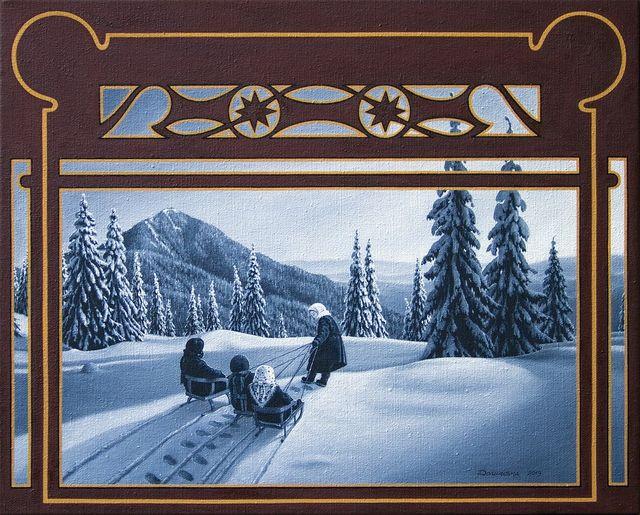 Юлія Долинська. До гори - до низу (полонина Лисича, вид з гори Стримба), 2013. Олія на полотні, 40х50