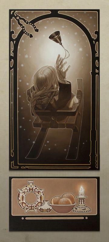 Юлія Долинська. Дух Різдва. Перший (з дівчиною), 2012. Олія на полотні, диптих 90х50, 30х50