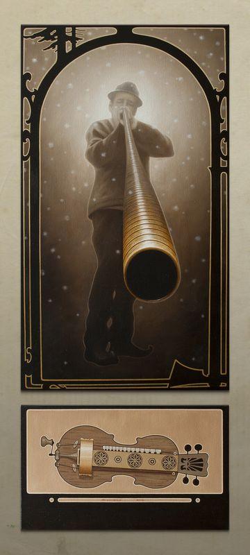 Юлія Долинська. Дух Різдва. Другий (з трембітарем), 2012. Олія на полотні, диптих 90х50, 30Х50 см