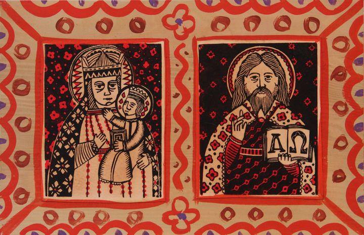 Олександр Бриндіков. Хатня ікона (папір, ілюмінований дереворит, дошка)