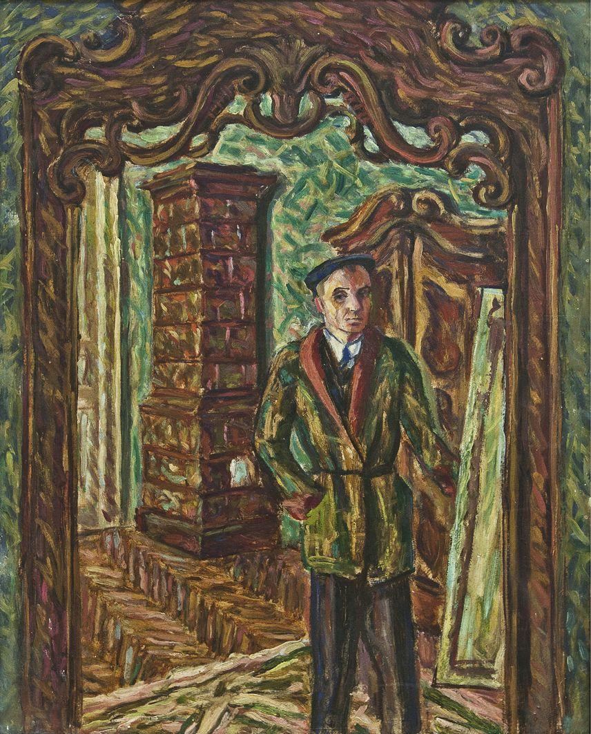 Роман Турин. Автопортрет в інтер'єрі, 1945; картон, олія