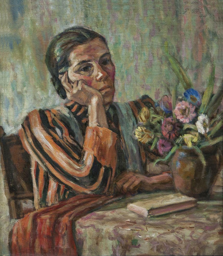 Роман Турин. У задумі, 1950; полотно, олія