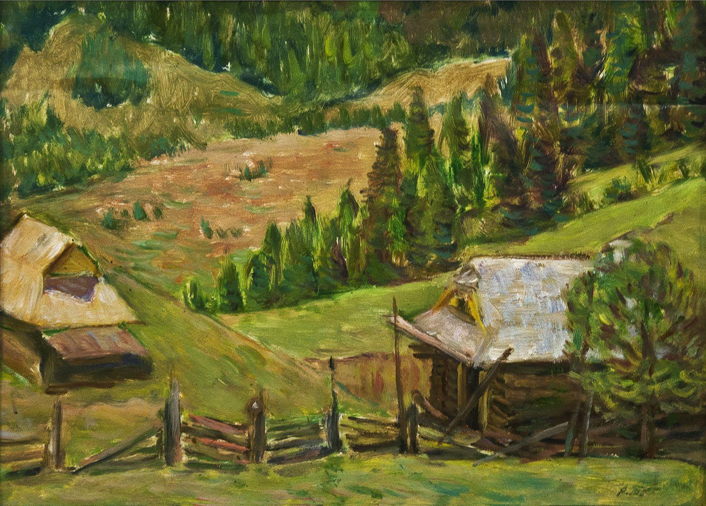 Роман Турин. Весна в Дземброні, 1960; картон, олія