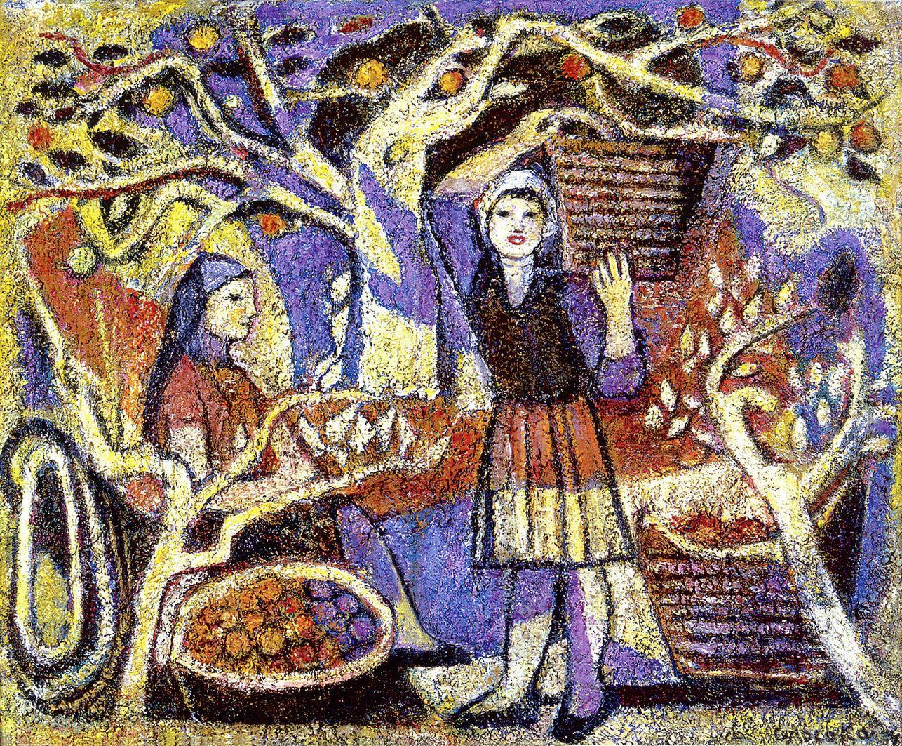 Марія Сельська. Збір яблук, 1970-і; ЛНГМ