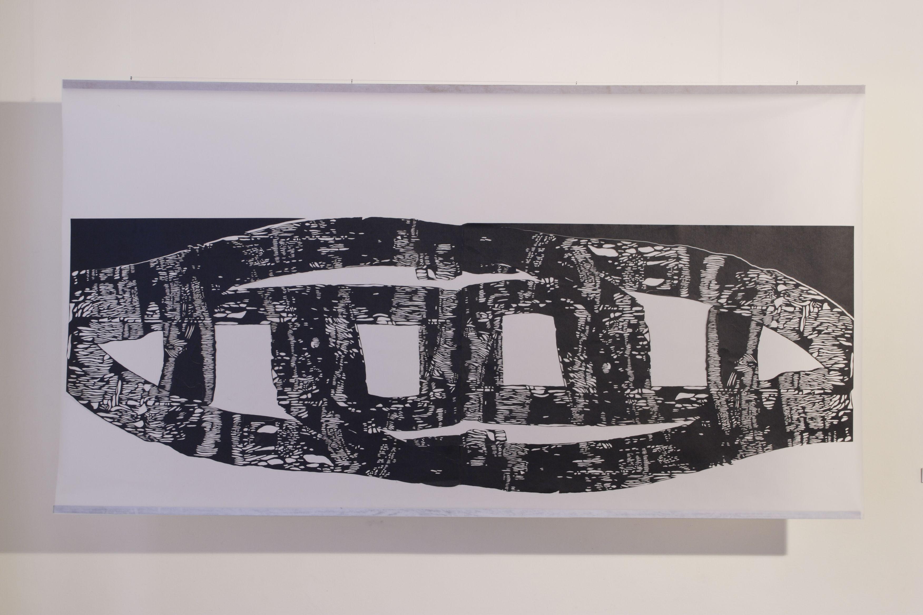 Олена Турянська. Ріка, 2005; папір, витинання, калька, 210х70
