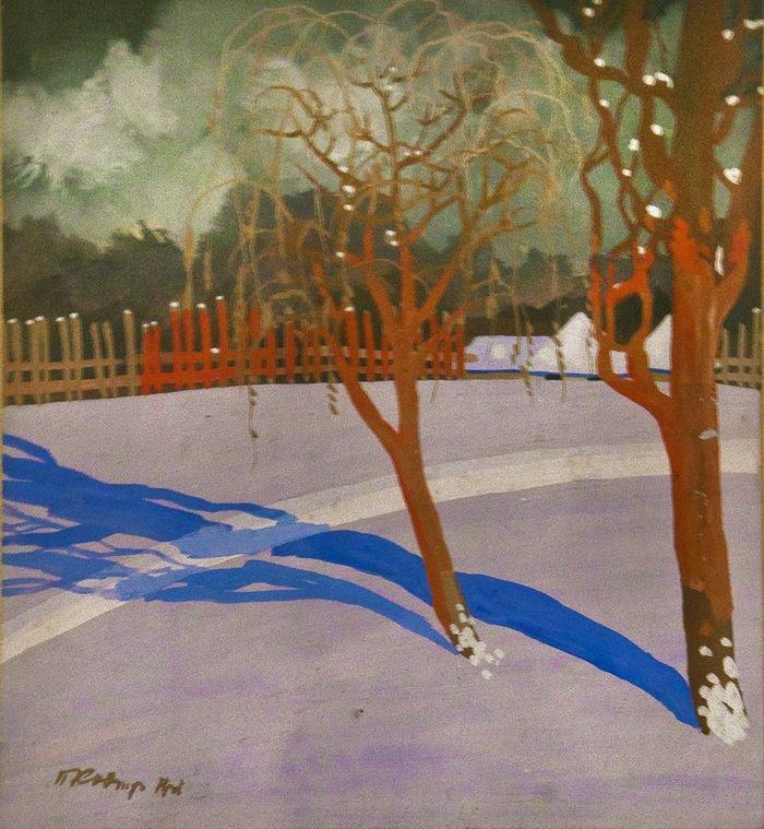 Павло Ковжун. Зимовій пейзаж, 1920-і; к,гуаш