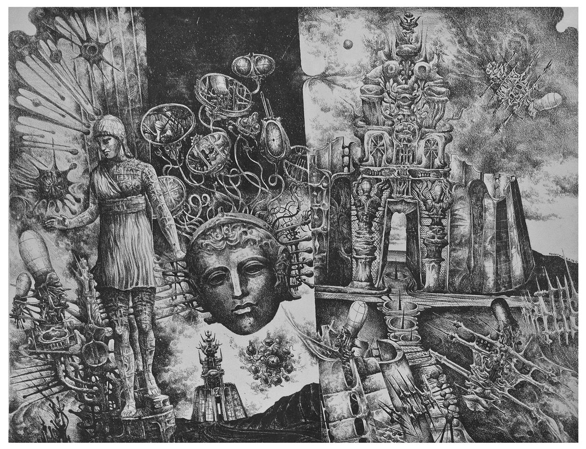 Володимир Пінігін. Витоки цивілізацій, 1978, літографія