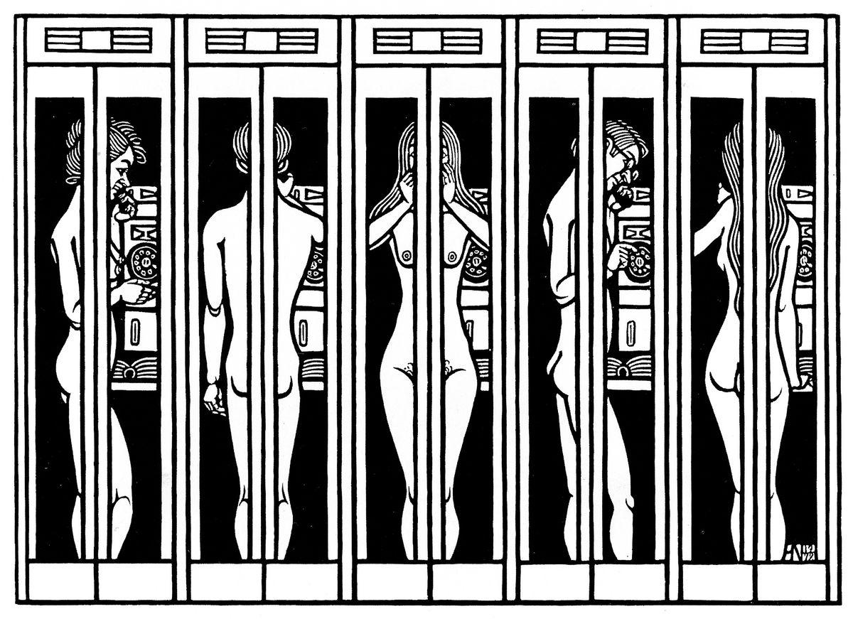 Яків Гніздовський. Телефонні будки, 1972, дереворит