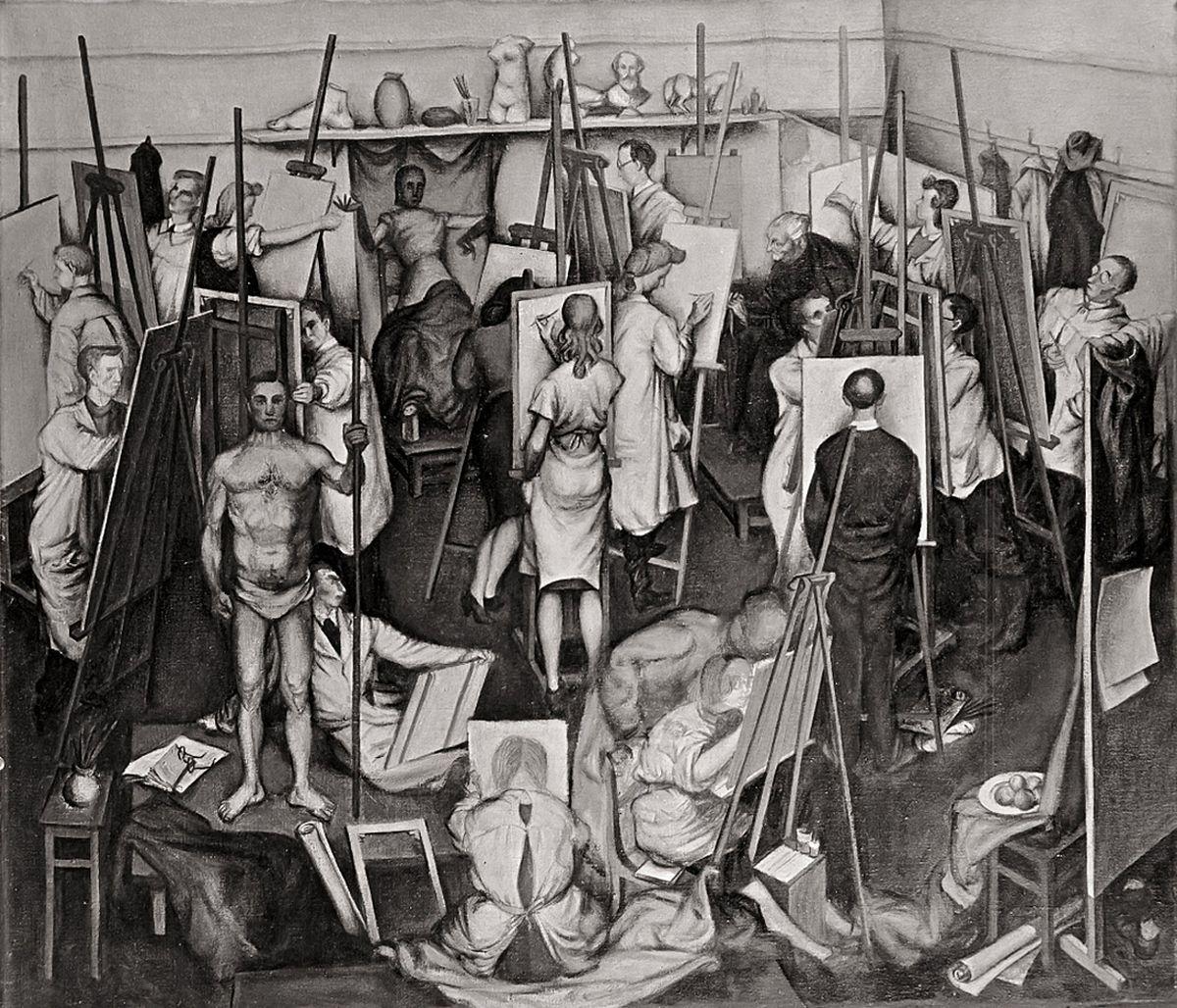 Яків Гніздовський. В Академії мистецтв у Загребі, 1945