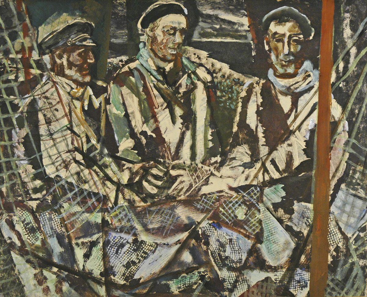 Данило Довбошинський. Норвезькі рибалки 1970. Монотипія