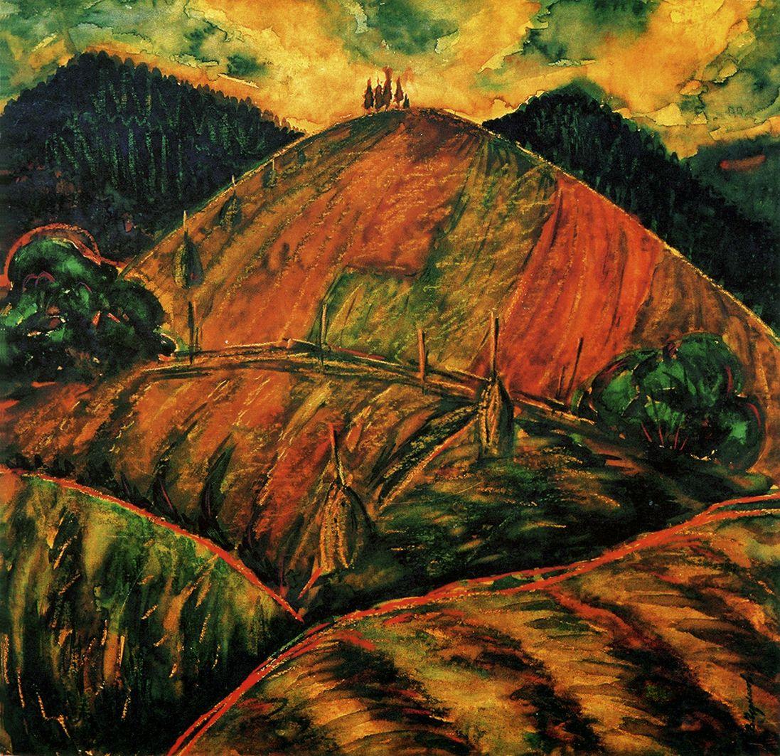 Володимир Черкасов. Карпати,гора Кічурка, 1987 пап,акв
