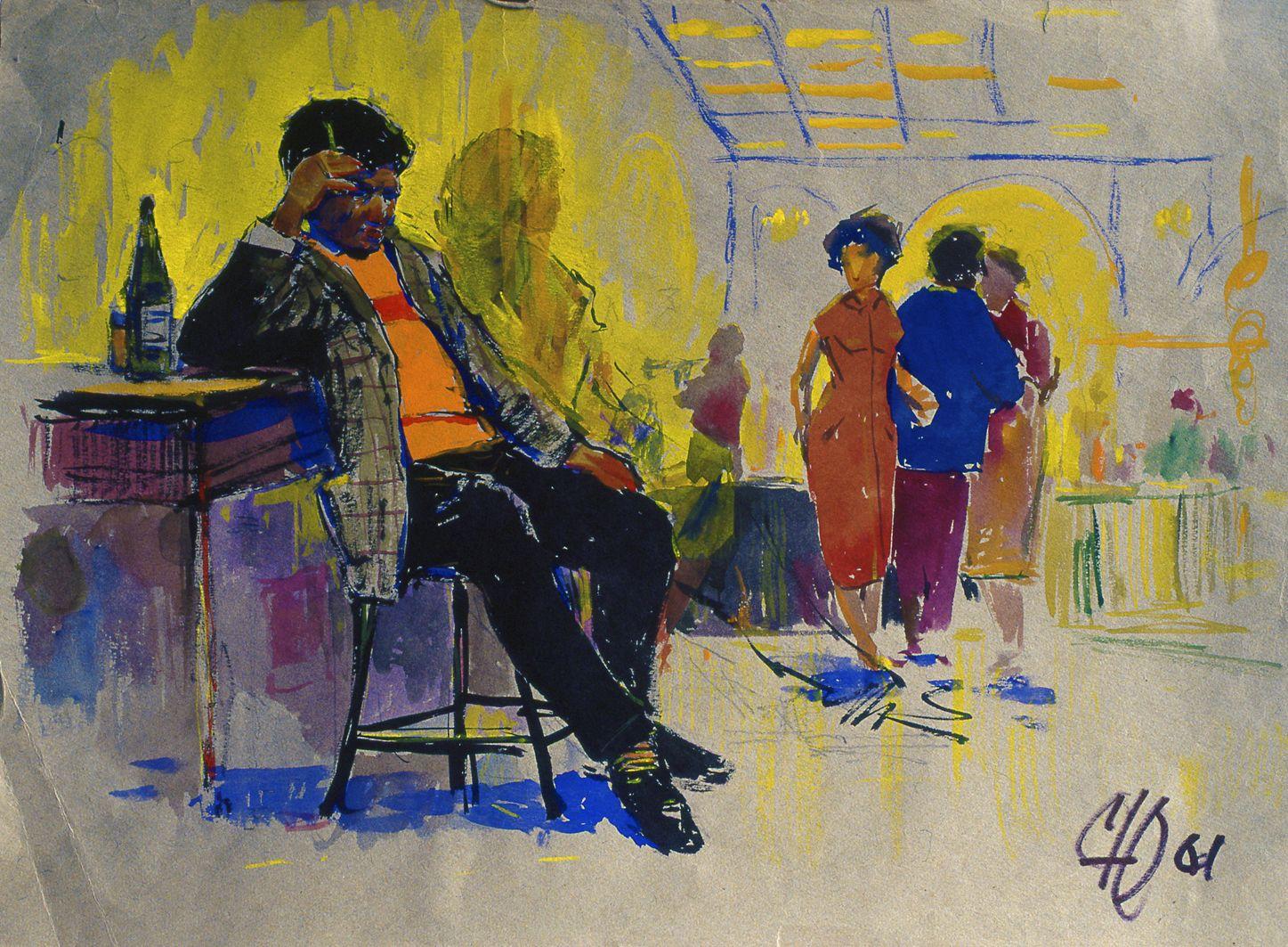 Юрій Скандаков. В кафе, 1961