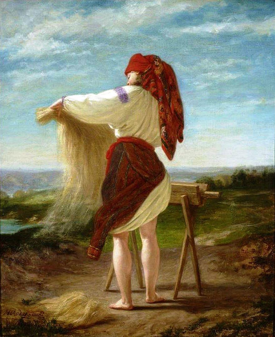 Генрік Родаковський. Селянка, що тріпає льон, 1859