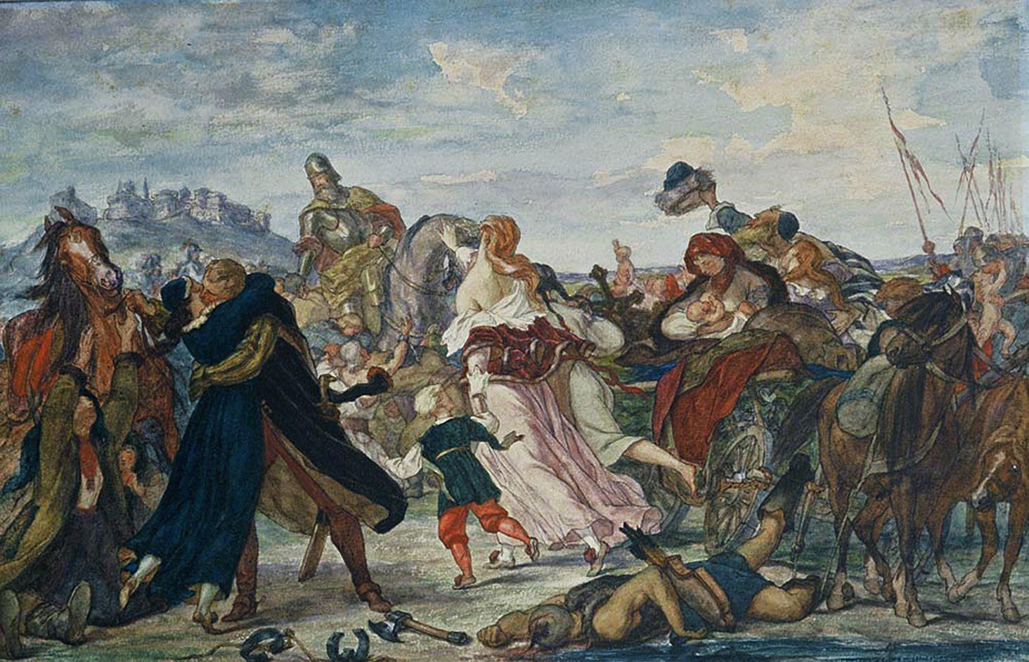 Генрік Родаковський. Конецпольський під Галичем визволяє полонених турками, акварель