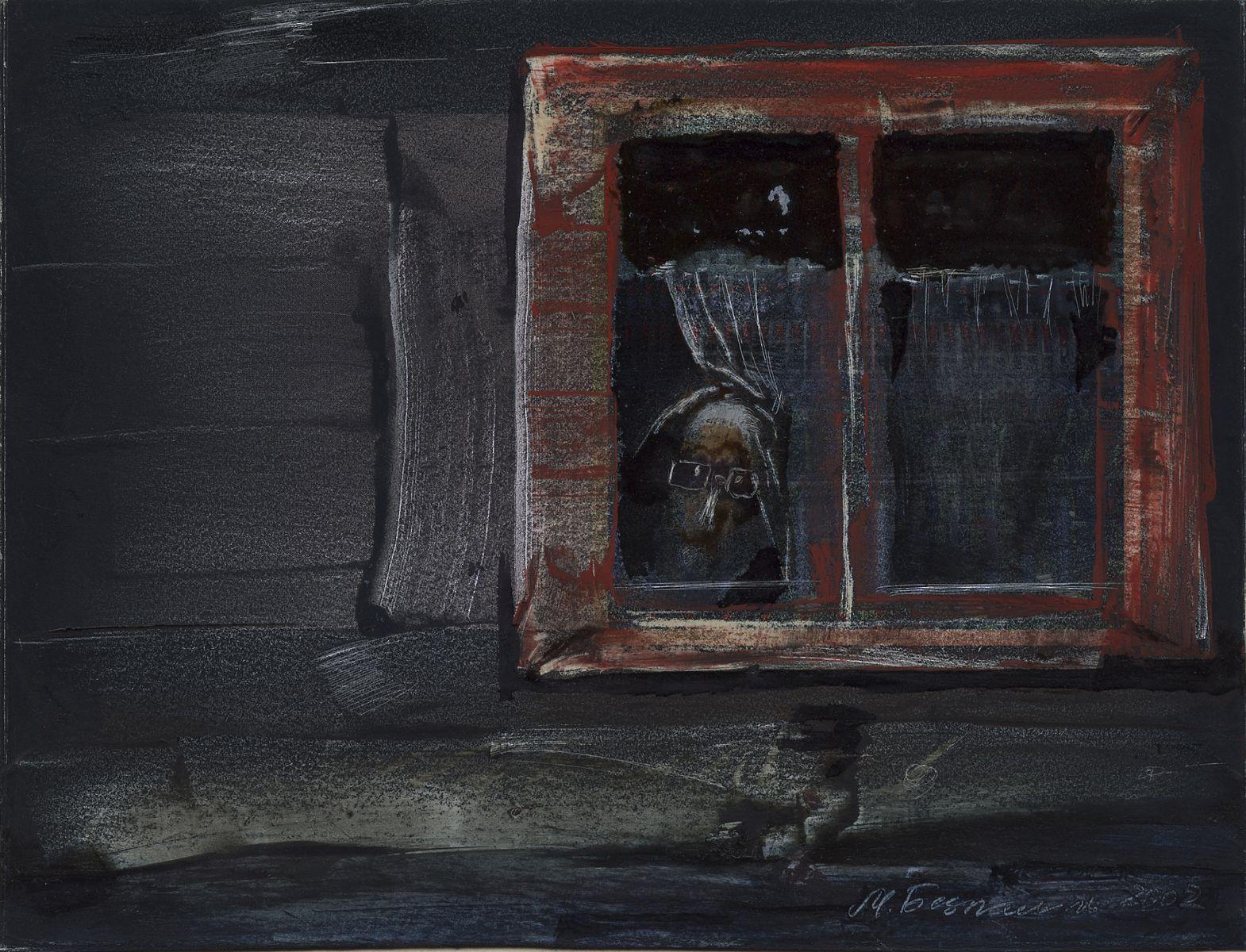 Михайло Безпальків. Бабусене вікно, 2002. Папір, авторська техніка; 11,5х15