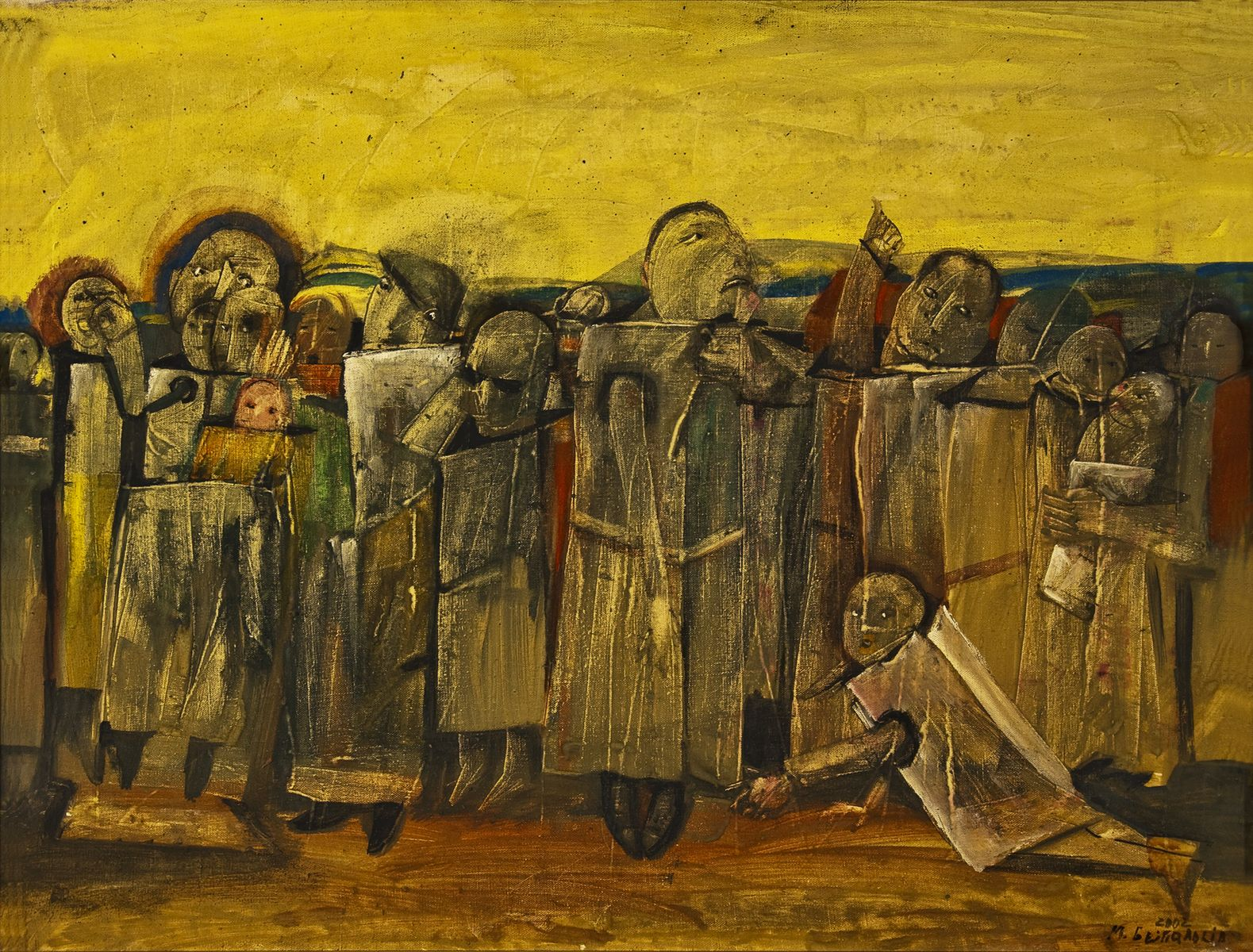 Михайло Безпальків. Люди в коробках, 2002. Туш, папір; 60х80