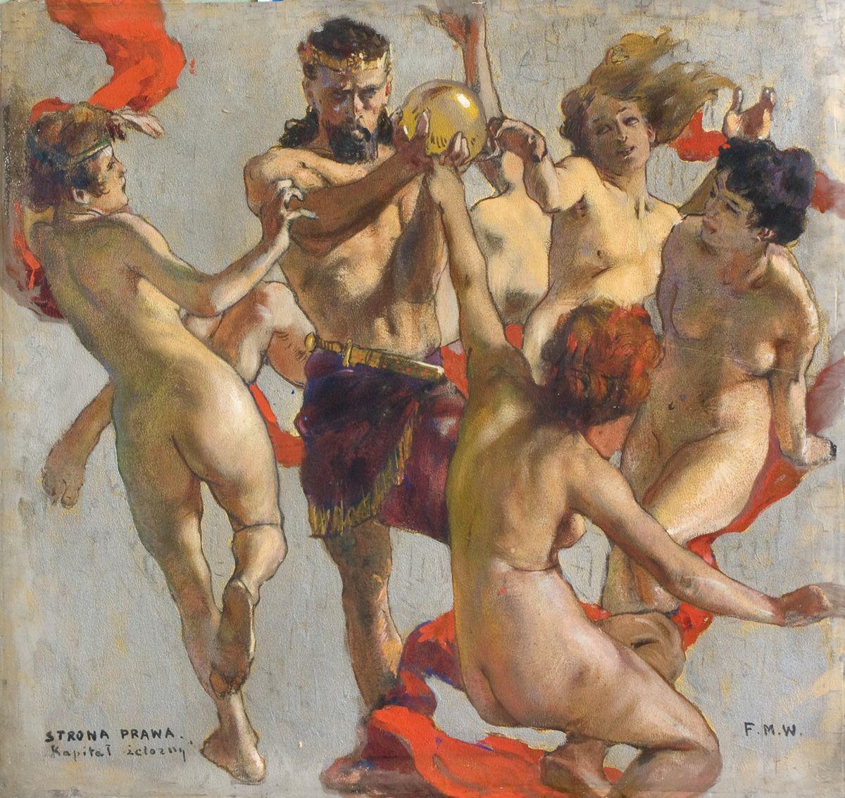 Фелікс Вигживальський. Ескіз розпису львівської Торгово-промислової палати, 1908