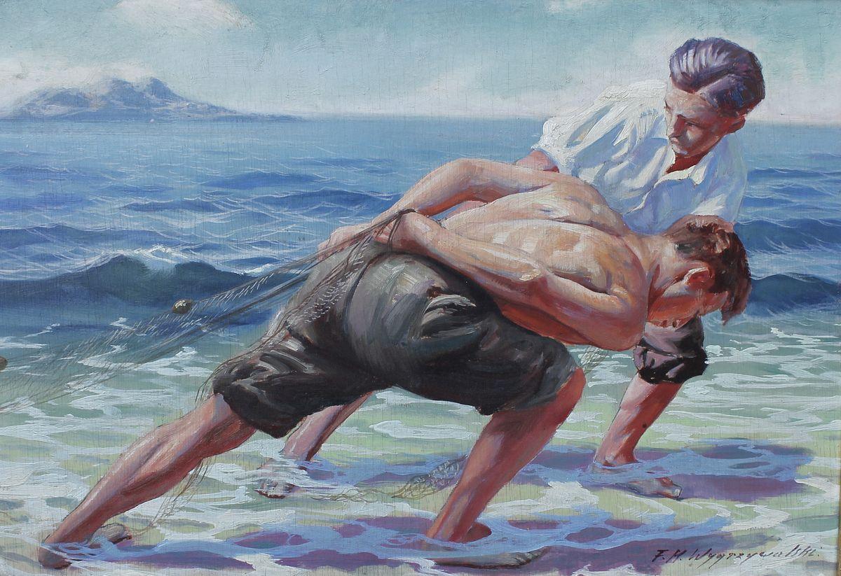 Фелікс Вигживальський. Рибалки, що витягають сітки