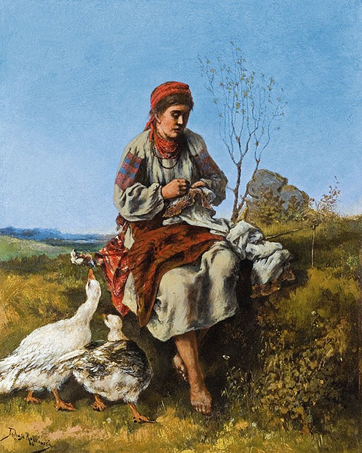 Тадеуш Рибковський. Пастушка гусей, 1880-ті