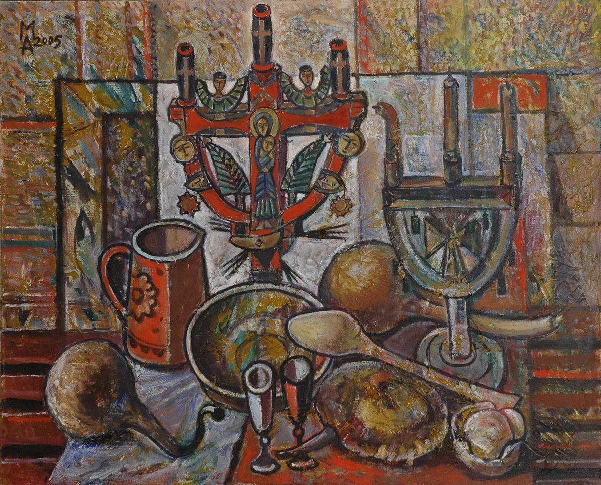 Микола Андрущенко. Натюрморт з свічниками, 2005