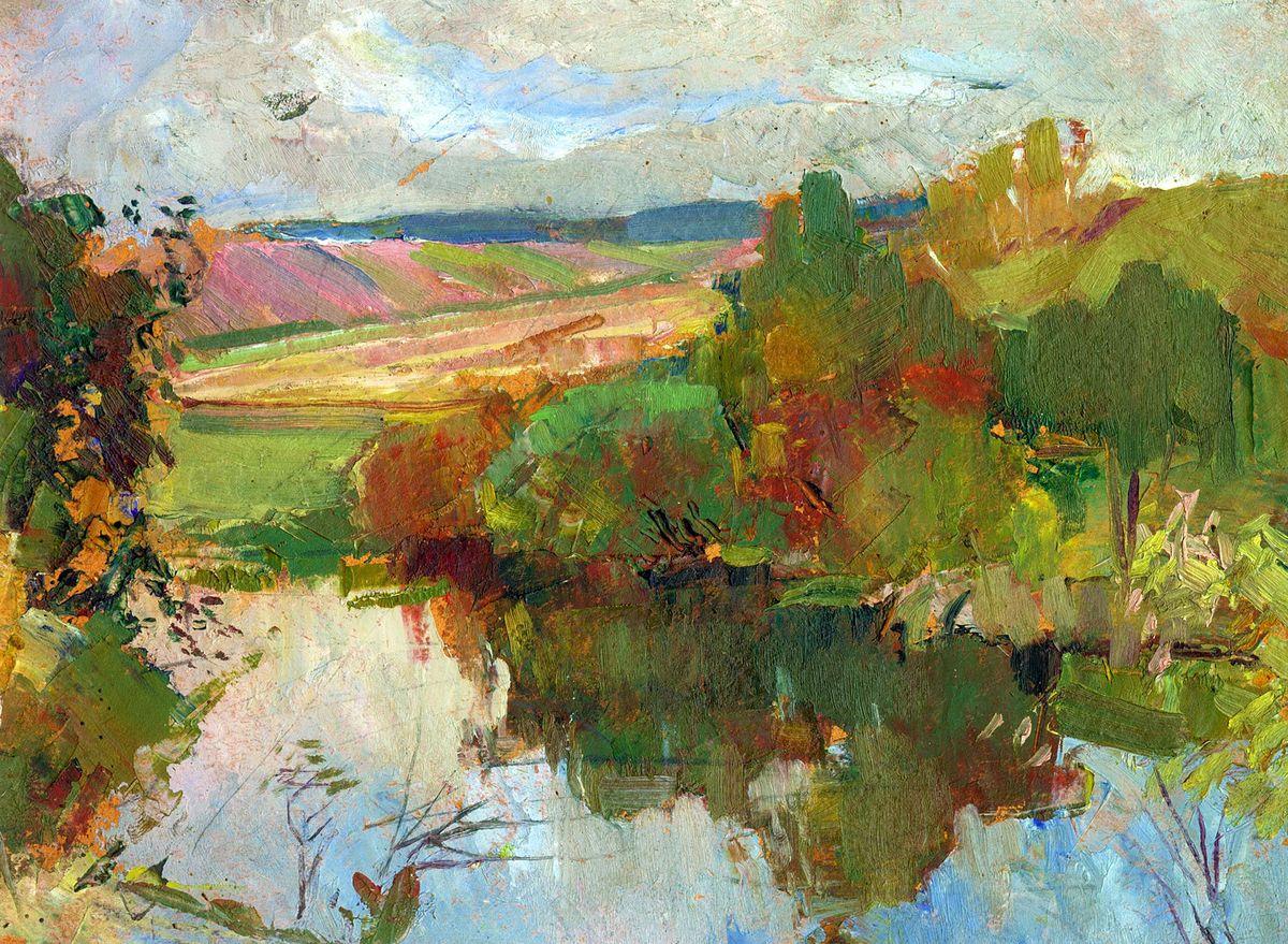 Ростислав Сильвестров. Пейзаж з річкою