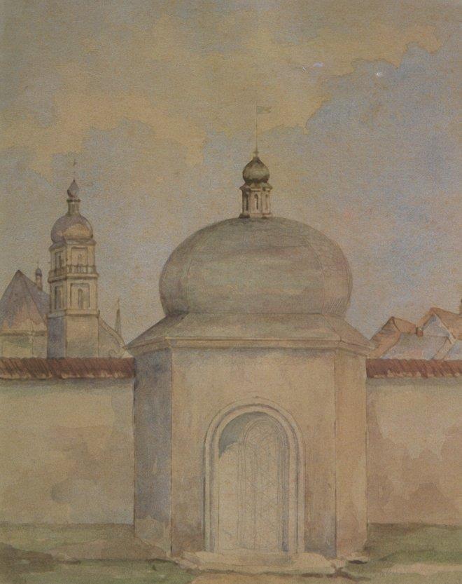 Францішек Ковалишин. Єзуїтська хвіртка (нині не існує). Акварель
