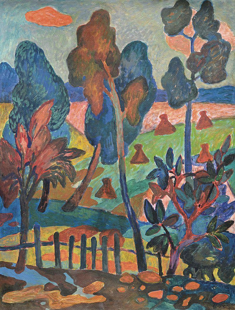 Іван Марчук. Пейзаж зі снопами, 1960-і