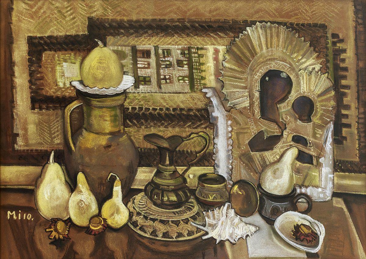 Ірина Мінько-Муращик. Натюрморт з іконою, 2010. Папір, пастель