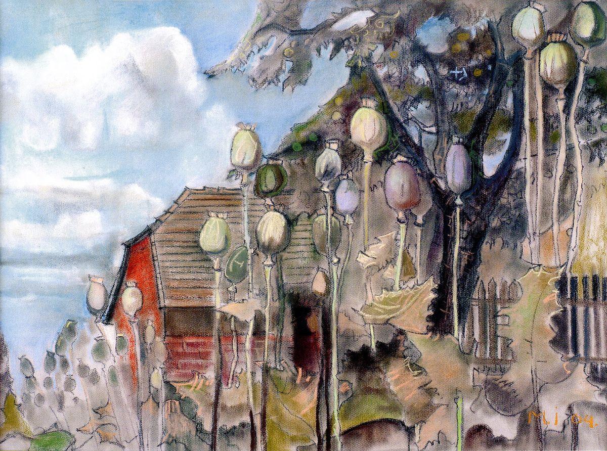 Ірина Мінько-Муращик. Сільський пейзаж з маками, 2004. Папір, пастель