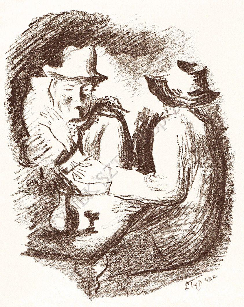Людвік Тирович. За столом, 1932, літографія