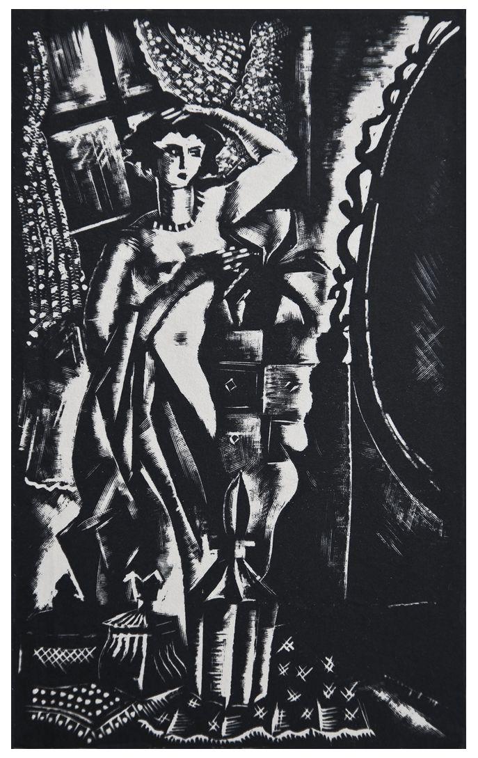 Людвік Тирович. Жінка перед дзеркалом, 1931, дереворит