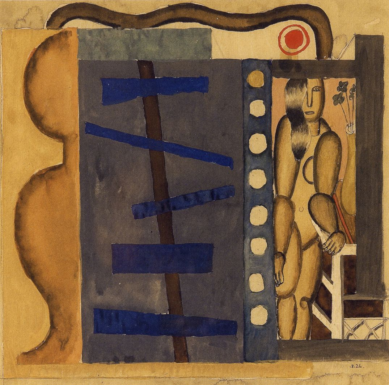 Генріх Штренг (Марк Влодарський). Композиція, 1926. Папір, гуаш, акварель, олівець