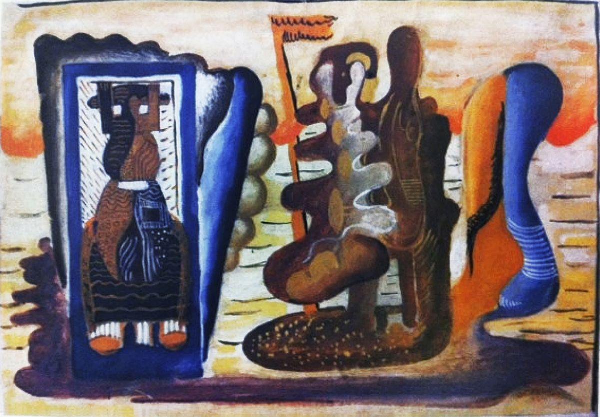 Генріх Штренг (Марк Влодарський). Ті, що пливуть в небесах, 1931. Папір, гуаш, NMW